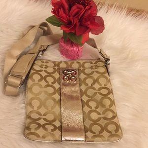 Authentic Coach Silver Cream Crossbody Bag